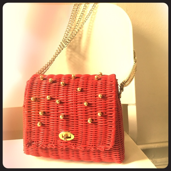 Vintage Handbags - Vintage red wicker shoulder bag with gold studs
